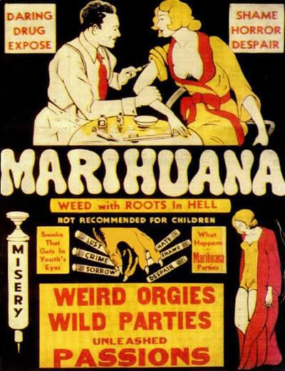 Old Vintage Anti Cannabis affiches de propagande